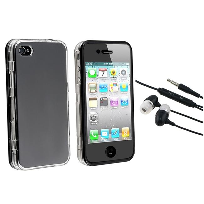 Clear with Black Trim Protector Case/ 3.5mm Headset for Apple iPhone 4