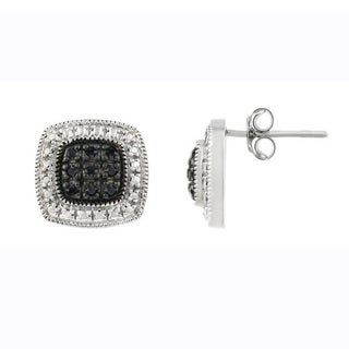 DB Designs Sterling Silver 1/5ct TDW Black Diamond Square Stud Earrings