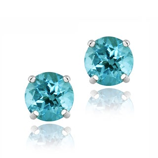 Icz Stonez Sterling Silver Aquamarine Stud Earrings