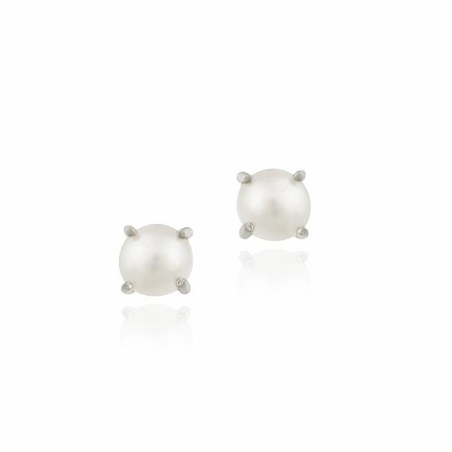 Glitzy Rocks Sterling Silver Freshwater Pearl Stud Earrings (5-6 mm)