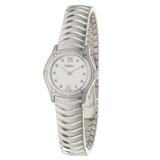 Ebel Women's 'Classic Wave' Stainless Steel Quartz Diamond Watch