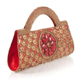 Hand-embroidered Red and Gold Handbag (India)