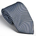 Platinum Ties Men's Striped 'Blue Cookie' Tie