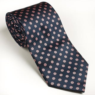 Platinum Ties Men's Navy 'Pink Dot' Tie