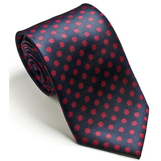 Platinum Ties Men's Navy 'Red Dot' Tie