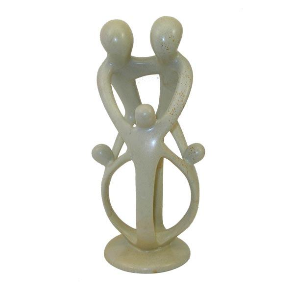 Soapstone Loving Family Embrace 2 Parents 3 Children Statue, Handmade in Kenya
