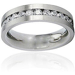 Men's Titanium White Cubic Zirconia Flat Ring