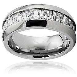 Men's Titanium Cubic Zirconia Baguette Domed Ring