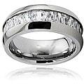 Men's Titanium Cubic Zirconia Baguette Domed Ring