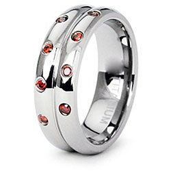 Men's Titanium Orange Cubic Zirconia High Polish Double Ring