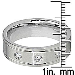 Men's Titanium Cubic Zirconia Flat Eternity Ring
