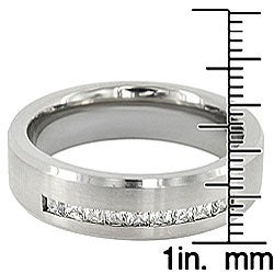 Men's Titanium Channel Set Cubic Zirconia Ring