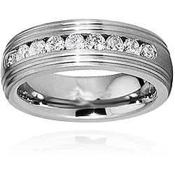 Men's Titanium Grooved Edge Channel Set Cubic Zarconia Ring (8 mm)