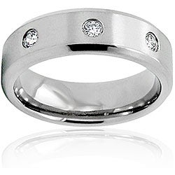 Men's Titanium White Cubic Zirconia Ring