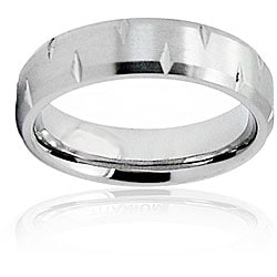 Men's Titanium Diamond Cut Beveled Edge Ring