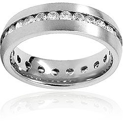 Men's High-Polish Titanium Cubic Zirconia Eternity Ring