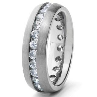Men's High-Polish Titanium Cubic Zirconia Eternity Ring