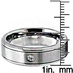 Men's Titanium Cubic Zirconia Grooved Edge Ring