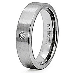 Men's Titanium Cubic Zirconia Satin Finish Ring