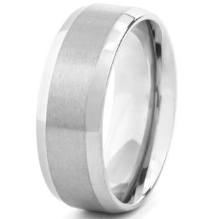 Men's Titanium Beveled Edge Satin Finish Ring