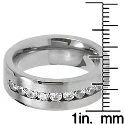 Men's Titanium Channel-set Cubic Zirconia Flat Band (7.4 mm)