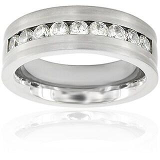 Men's Titanium Cubic Zirconia Flat Ring (7.5 mm)