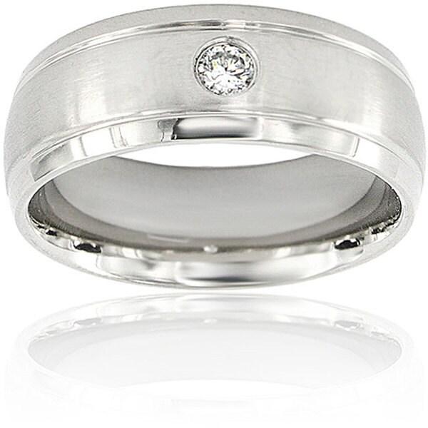 Men's Titanium Cubic Zirconia Grooved Edge Dome Ring