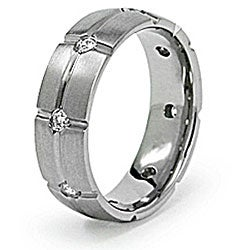 Men's Titanium Cubic Zirconia Grooved Eternity Ring