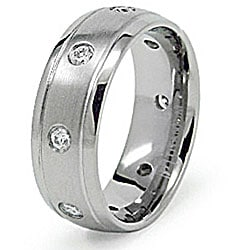 Men's Titanium Grooved Edge Cubic Zirconia Eternity Ring