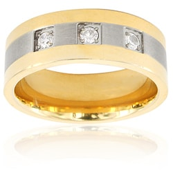 Men's Two-tone Titanium Cubic Zirconia Band