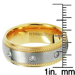Men's Highly Polished Titanium Two-Tone Cubic Zirconia Ring