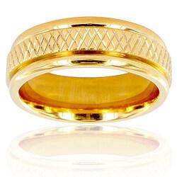 Men's Goldtone Titanium Cross Weave Ring