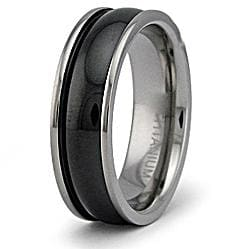 Men's Titanium Two-tone Dome Barrel Ring