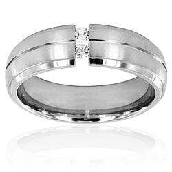 Men's Titanium Cubic Zirconia Grooved Center Domed Band