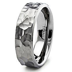Men's Titanium Hammered Ring