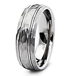 Men's Titanium Groove Hammered Ring