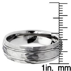 Men's Titanium Groove Hammered Ring