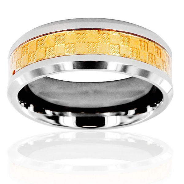 Men's Two-Tone Titanium Golden Carbon Fiber Ring
