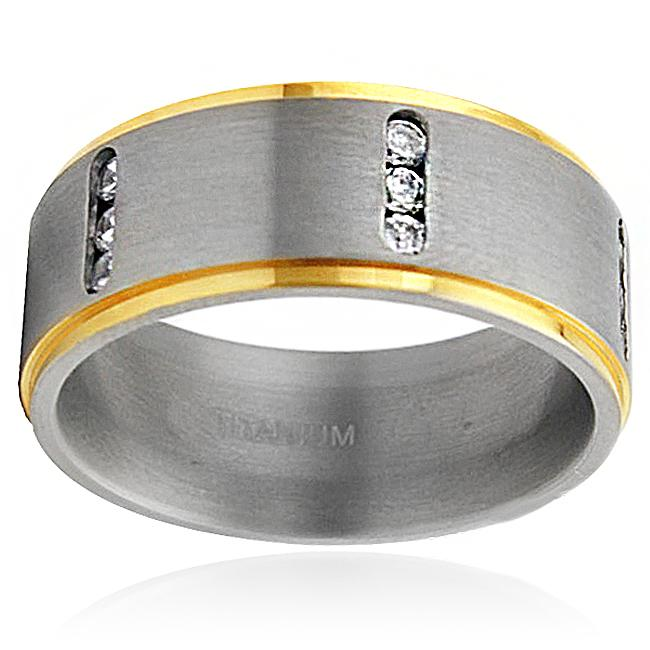 Men's Titanium Two-tone Cubic Zirconia Ring