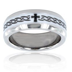Men's Titanium Ceramic Inlay Cross Ring