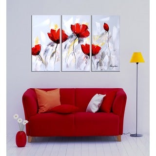 'Red Flower 281' 3-piece Gallery-wrapped Hand Painted Canvas Art Set