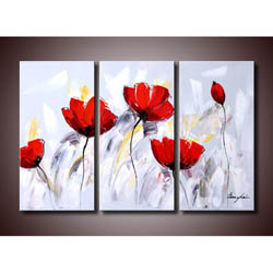 'Red Flower 281' 3-piece Gallery-wrapped Canvas Art Set