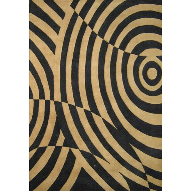 Alliyah Handmade Brown/ Black New Zealand Blend Wool Rug (8' x 10')