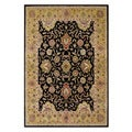Handmade Delhi Black Border New Zealand Wool Rug (9' x 12')