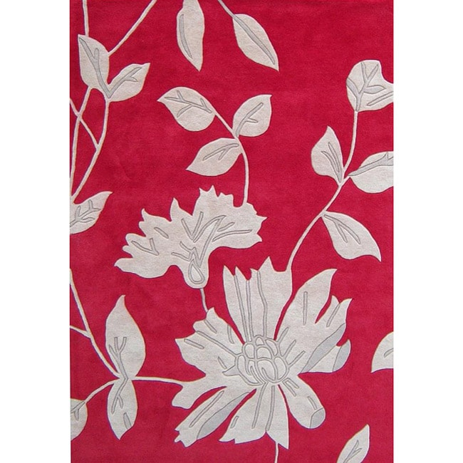 Alliyah Handmade Hongkong Red New Zealand Blend Wool Rug (8' x 10')
