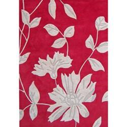 Alliyah Handmade Hongkong Red New Zealand Blend Wool Rug (8' x 10')