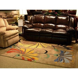 Hand-tufted Metro Flower Beige Wool Rug (6' x 9')