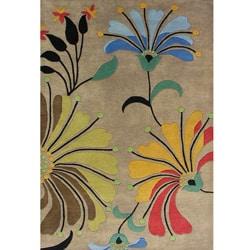 Hand-tufted Metro Flower Beige Wool Rug (6' x 9')