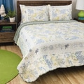 Greenland Home Fashions Coral Blue 3-Piece Quilt Set