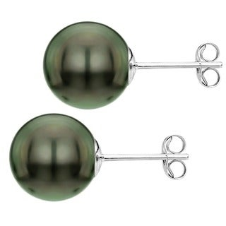 DaVonna Silver Black 9-10mm Tahitian Pearl Stud Earrings with Gift Box